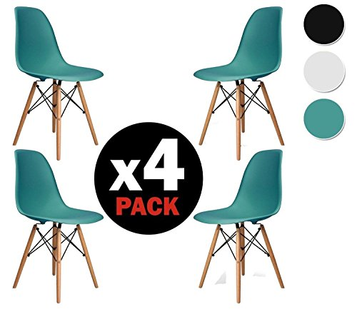 due home nordik pack 4 st hle stuhl tower t rkis replica eames t rkis und aus buchenholz. Black Bedroom Furniture Sets. Home Design Ideas