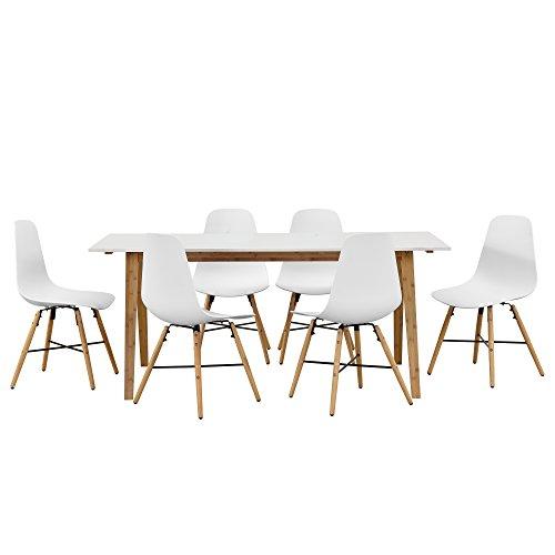 design esstisch mit 6 st hlen wei bambus. Black Bedroom Furniture Sets. Home Design Ideas