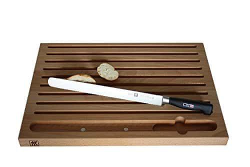 2 tlg. Messer-Set Zwilling 4**** Sterne Party Brotmesser 30cm Spezialstahl + Schneidbrett