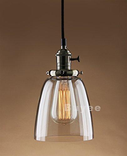 Buyee Lighting Industrielle Edison ein Licht Eisen Body Glass Shade Loft Coffee Bar Küchenhängependelleucht