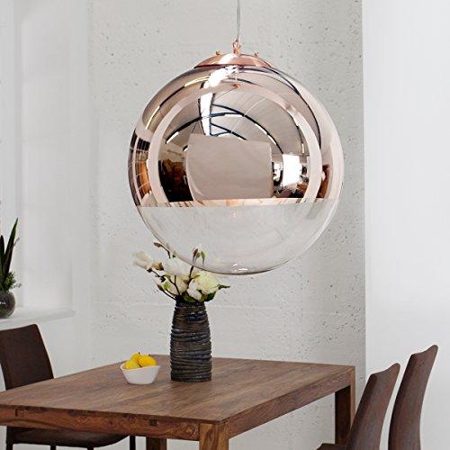 CAGÜ - DESIGN LOUNGE HÄNGELAMPE [PELOTA] GLAS & KUPFER 40cm Ø