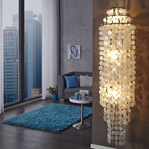 cag xxl design h ngelampe h ngeleuchte shell weiss aus echt permutt 150cm h he. Black Bedroom Furniture Sets. Home Design Ideas