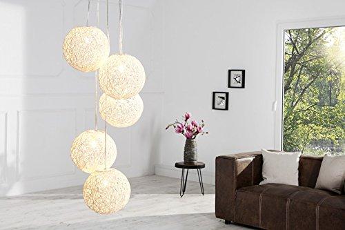 DuNord Design Hängelampe Pendellampe Kugellampe BOZZOLO PEARL weiss Hanf Geflecht Hängeleuchte