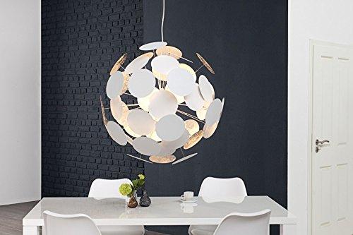 DuNord Design Hängelampe Pendellampe Kugellampe SPOTS 70cm weiss/silber Retro Lounge Design