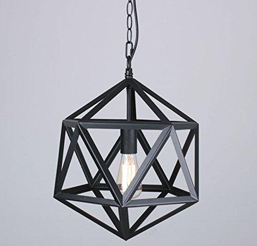 Hahaemall Hängelampe, Vintage-Stil, Metall-Kunst, Edison, Polyeder, groß, Schirm schwarz