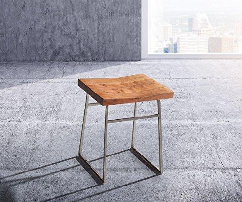 Küchenstuhl Blokk Akazie Natur Metallgestell Massivholz Esszimmerstuhl