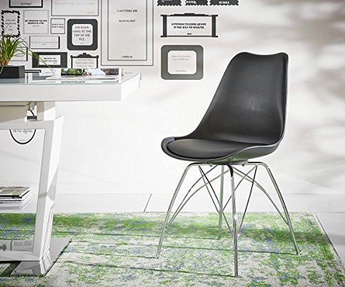 Küchenstuhl Madoka Schwarz Beine Verchromt Esszimmerstuhl