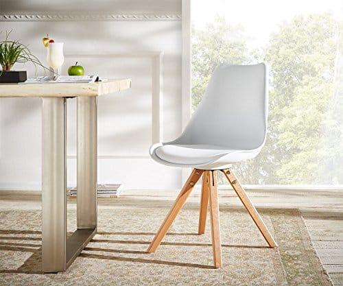 Küchenstuhl Tatiani Weiss Beine Naturfarben Esszimmerstuhl