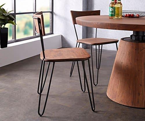 Küchenstuhl Veruca Akazie Braun Massivholz Metallgestell Schwarz Esszimmerstuhl