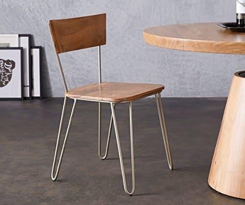 Küchenstuhl Veruca Akazie Natur Massivholz Metallgestell Silber Esszimmerstuhl