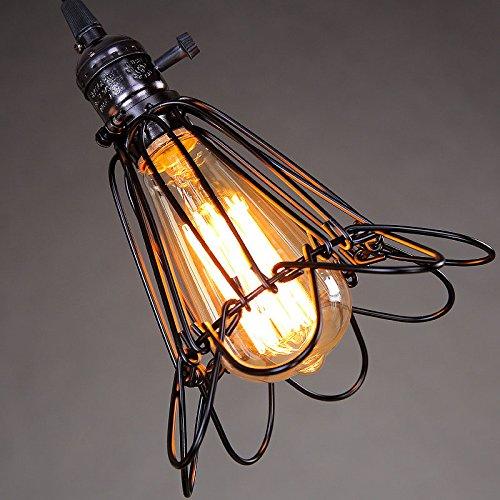 Retro Industrielle Hängeleuchte Pendelleuchte E27 Deco lampe 1 Flammig Eisen Leuchte Max 40W Höhenverstellbar für Esstisch Wohnzimmer(Leuchtmittel nicht enthalten) (black)