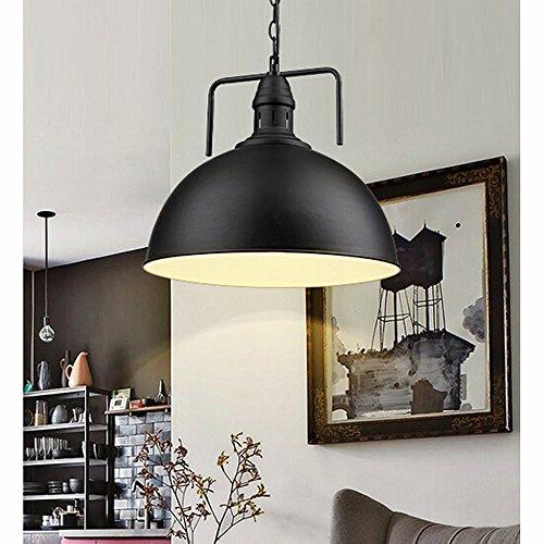 hahaemall 30cm Industrie Metall Pendelleuchte Antik Stil, Lampenschirme für für Edison-Birne Küche Lights Beschläge schwarz