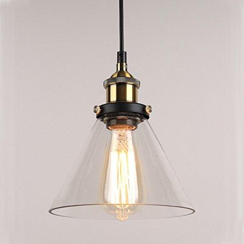 hahaemall Innen Industrie Edison Anhänger Glas Hängeleuchte transparent Lampenschirm (Leuchtmittel nicht enthalten)