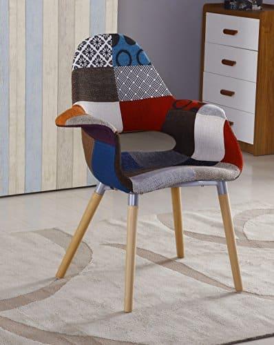 p n homewares patchwork retro polsterstuhl bequemer arm stuhl esszimmerst. Black Bedroom Furniture Sets. Home Design Ideas