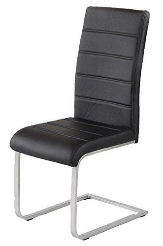 2 x Polsterstuhl Jan Piet ® mit hochwertigem PU Kunstleder schwarz NEU Jetzt 120 kg belastbar Gestell einteilig Freischwinger Esszimmerstuhl.