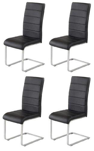 4 x Piet 30 Freischwinger Esszimmerstühle Kunstleder schwarz
