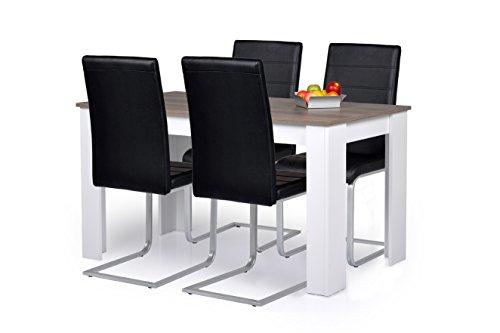 Agionda® Esstisch + Stuhlset : 1 x Esstisch Toledo Nebraska Eiche (Oak) 120 x 80 + 4 Freischwinger schwarz