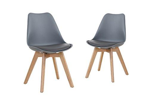 Beco Stuhl im 2er Set vielfältig einsetzbar, 48 x 81 x 56 cm, Grau