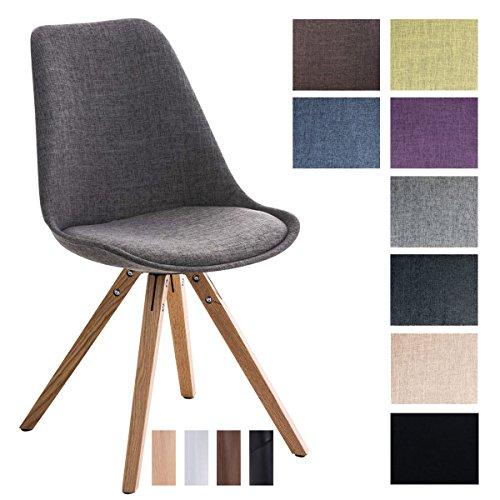 CLP Design Retro Stuhl PEGLEG SQUARE, Stoffbezug, Schalenstuhl, gepolstert, Sitzhöhe 46 cm
