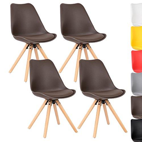 WOLTU® 4 x Esszimmerstühle 4er Set Esszimmerstuhl mit Sitzfläche aus Kunstleder Design Stuhl Küchenstuhl Holz, Neu Design, #777