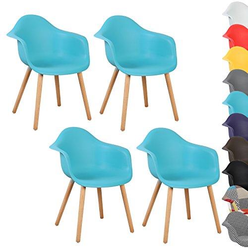 WOLTU® 4er Set Esszimmerstühle Küchenstuhl Design Stuhl Esszimmerstuhl mit Lehne Kunststoff Holz Neu Design #771