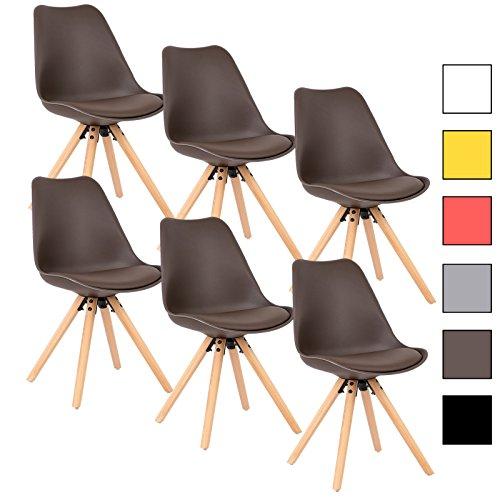 WOLTU® 6 x Esszimmerstühle 6er Set Esszimmerstuhl mit Sitzfläche aus Kunstleder Design Stuhl Küchenstuhl Holz, Neu Design, #778