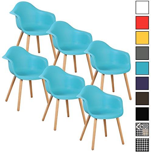 WOLTU® 6er Set Esszimmerstühle Küchenstuhl Design Stuhl Esszimmerstuhl mit Lehne Kunststoff Holz Neu Design #772