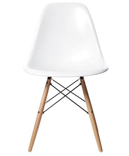 crazygadget Charles & Ray Eames inspiriert Eiffel DSW Retro Design Wood Style Stuhl für Büro Lounge Küche–weiß