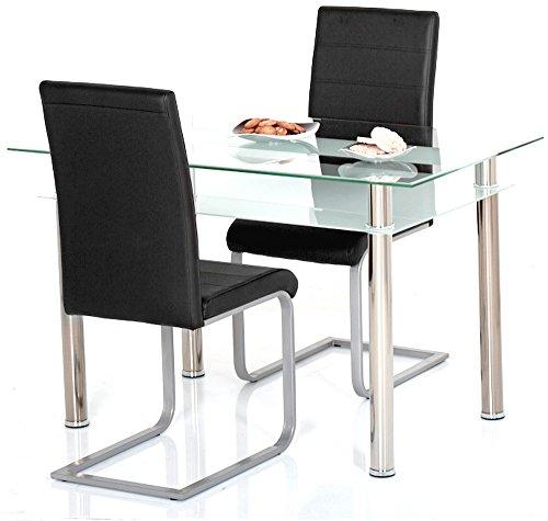 Agionda ® Esstisch Kay mit Stuhlset Jan Piet ® 2er Satz mit hochwertigem PU Kunstleder in schwarz