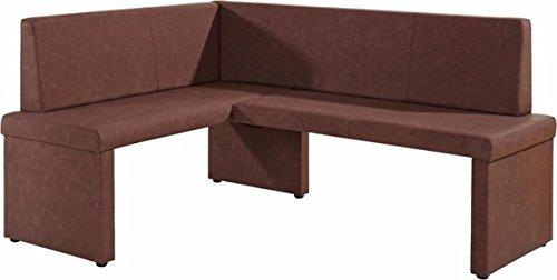 Cavadore Eckbank rechts Mulan / Moderne Sitzbank mit Lehne in Dunkelbraun / Pflegeleichtes Lederimitat / 125 x 165cm / Höhe: 82cm / Tiefe: 54cm