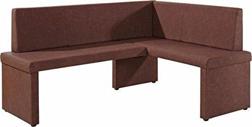 Cavadore Eckbank links Mulan / Moderne Sitzbank mit Lehne in Dunkelbraun / Pflegeleichtes Lederimitat / 165 x 125cm / Höhe: 82cm / Tiefe: 54cm