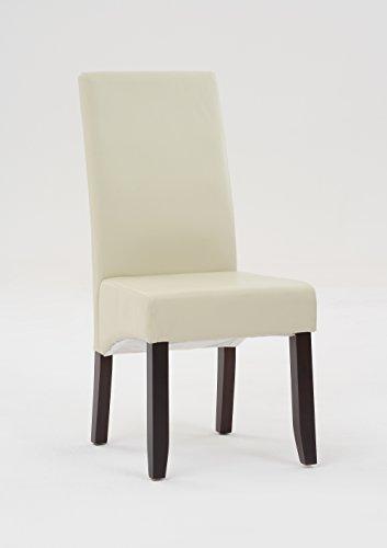 SAM® Polster-Stuhl 4726-01, Esszimmer-Stuhl in creme mit Samolux®-Bezug, massive kolonial-farbene Pinien-Holzbeine, Design-Stuhl für Küche und Esszimmer
