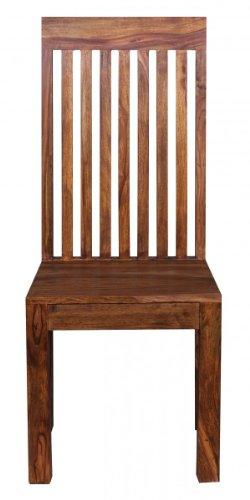 FineBuy Esszimmerstühle 2er Set Massiv-Holz Sheesham Küchen-Stühle Doppelpack Holzstühle dunkel-braun Landhaus-Stil Essstühle mit Lehne Natur-Produkt Design Stühle mit Beine Echt-Holz unbehandelt