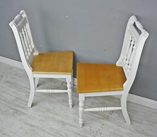2x Stuhl SET Holzstuhl Küchenstuhl OTTO massiv Vollholz Holz Landhaus Cottage (Braun-Weiß)