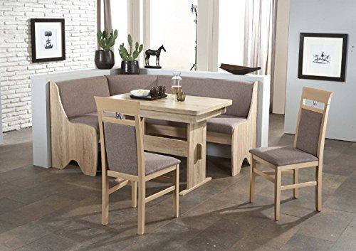 Dreams4Home Eckbankgruppe 'Pago' Essgruppe 166 x 126 x 87 cm Tisch 2 Stühle modern Sonoma Eiche grau-braun Eckbank Küchentisch 4-teilig Landhaus Küche