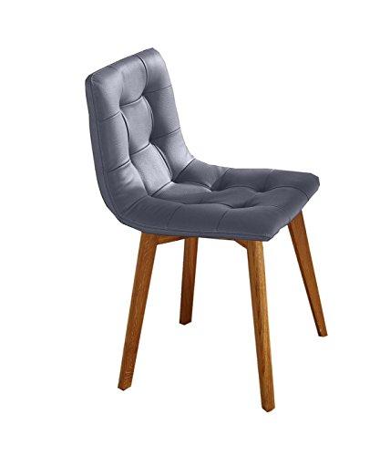 SAM® Stilvoller Esszimmer-Stuhl, grauer Lederbezug, ergonomisch geformte Sitzschale, massive Holzbeine aus Buche, bequemer Schalenstuhl in modernem Design, Unikat für Ihr Wohnzimmer & Küche [521960]