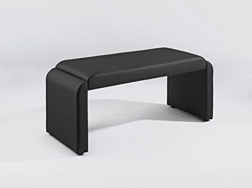 "Cavadore Vorbank ""Fontaine"" Schwarz / Moderne, gepolsterte Sitzbank / Essbank Kunstleder / Bank ohne Lehne: 140 x 48,5 x 45 cm (B x T x H)"