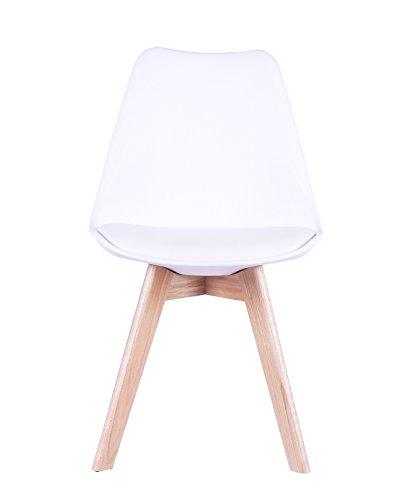 SAM® Design-Schalenstuhl Espo, Weiß, mit integriertem Sitzkissen, massive Beine aus Buche, ergonomisch geformte Sitzschale, bequemer Esszimmer-Stuhl
