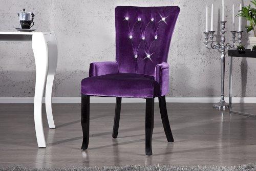 Design Stuhl BAROCCO mit Armlehnen Samt lila mit Strasssteinen