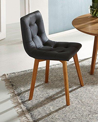 sam stilvoller esszimmer stuhl grauer lederbezug. Black Bedroom Furniture Sets. Home Design Ideas