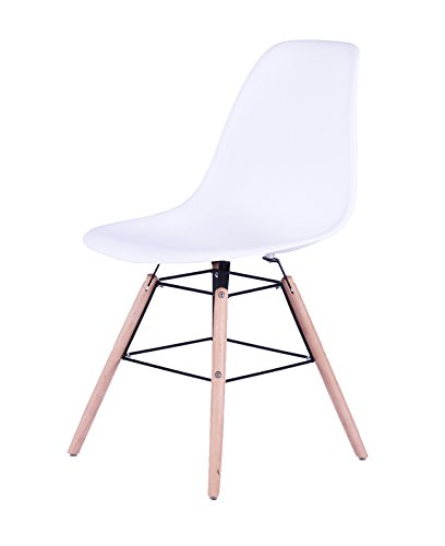 SAM® Design-Schalenstuhl Helsinki, Weiß, massive Beine aus Buche, ergonomisch geformte Sitzschale, bequemer Esszimmer-Stuhl für Küche und Wohnzimmer