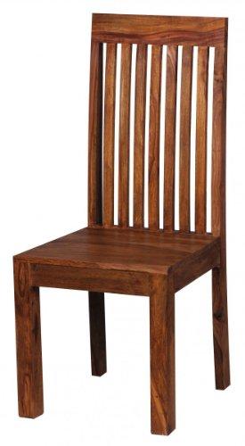 WOHNLING Esszimmerstühle 2er Set Massiv-Holz Sheesham Küchen-Stühle Doppelpack Holzstühle dunkel-braun Landhaus-Stil Essstühle mit Lehne Natur-Produkt Design Stühle mit Beine Echt-Holz unbehandelt