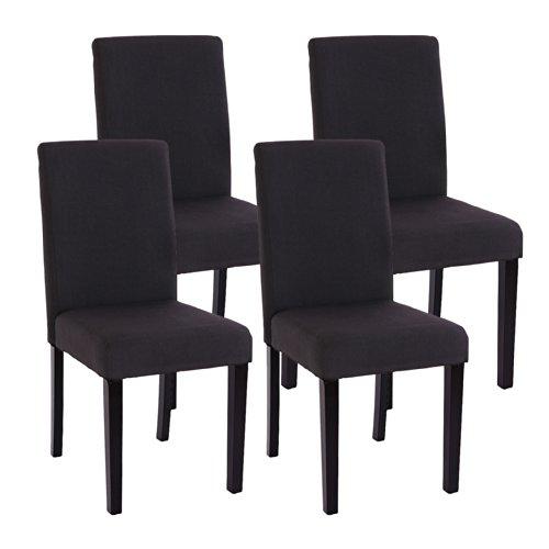 4x Esszimmerstuhl Stuhl Lehnstuhl Littau ~ Textil, schwarz, dunkle Beine