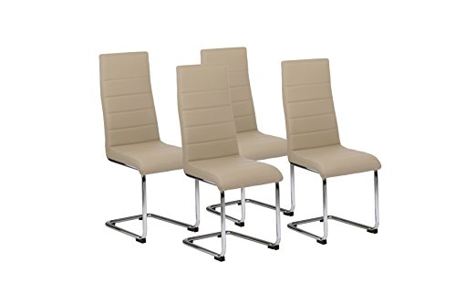 Cavadore Schwingstuhl 4-er Set Gaby / Freischwinger ohne Armlehne in modernem Design / Lederimitat / Stuhlset Cappuccino / 56 x 44 x 105 cm (T x B x H)