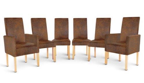 SAM® Stuhl Spar Set 4+2 Wildleder / eiche Sparset aus 4 Esszimmerstühlen Piacenza und 2 Armlehnstühlen Piano in Wildleder Optik mit Eiche Beinen Stuhlset Stuhl mit angenehmer Polsterung pflegeleicht