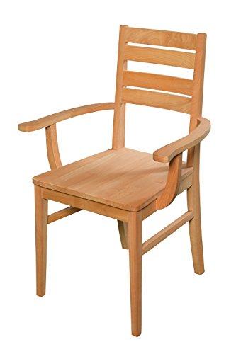 Esszimmerstuhl aus Buche massiv mit Armlehne ✓ Geölt ✓ Extrem robust   Holzstuhl für Küche & Esszimmer   Rustikaler Esstisch-Stuhl, Massivholz-Stuhl, Küchenstuhl aus Buche