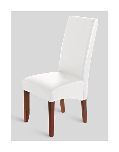 SAM® Esszimmerstuhl in weiß mit kolonialfarbigen Beinen aus Pinienholz, Stuhl mit SAMOLUX®-Bezug, angenehme Polsterung, pflegeleichter Stuhl mit leicht geschwungener Rückenlehne [53258217]
