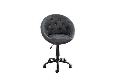 DuNord Design Bürostuhl Schreibtischstuhl NIZZA antik grau/schwarz Retro Design Büro Stuhl