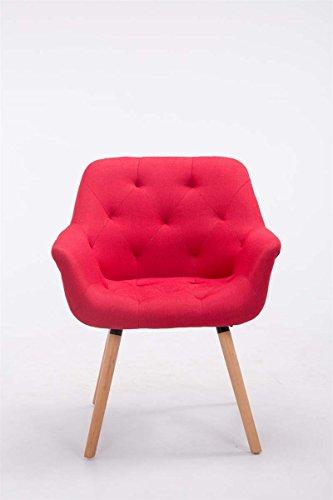 CLP Besucher-Stuhl CASSIDY, Stoff-Bezug, belastbar bis 150 kg, Retro-Stuhl mit Armlehne, sesselförmiger Sitz, gepolstert, Sitzhöhe 45 cm Rot, Holzgestell Farbe natura