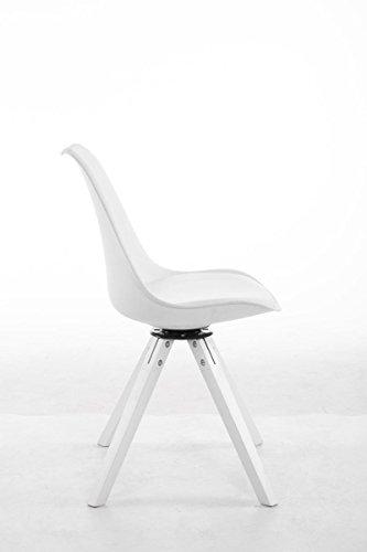 clp design retro stuhl troyes square kunststoff lehne kunstleder sitz gepolstert drehbar wei. Black Bedroom Furniture Sets. Home Design Ideas